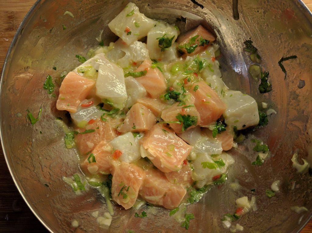 Ceviche av laks og torsk