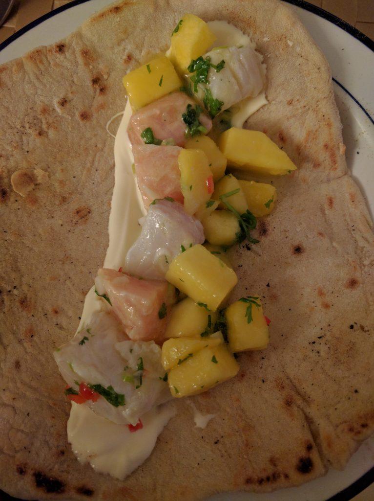 Ceviche av laks og torsk i lefse